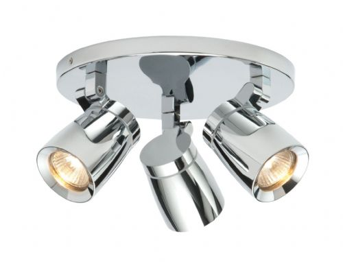Chrome effect plate & clear glass IP44 Bathroom Spotlight BX39167-17 by Endon (Double Insulated)